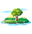 An island with animals vector image vector image
