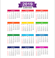 2019 Year calendar isolated on white background vector image