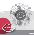 Hand drawn lips icons with icons background vector image