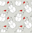christmas seamless pattern with snowman new year vector image
