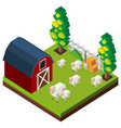 Farm scene with sheeps in 3d design vector image