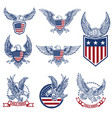 set of emblems with eagles and american flags vector image