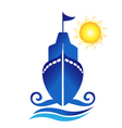 Ship sun waves logo vector image
