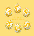 pale yellow easter egg decoration floral vector image