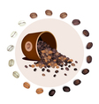 Various Kind of Coffee Beans Dropped from A Bucket vector image vector image
