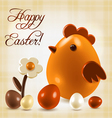 Warm easter greetings postcard vector