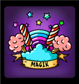 magic rainbow cotton candy vector image