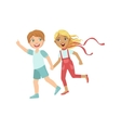 Boy And Girl Running Outside Holding Hands vector image