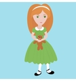 Cute cartoon little girl with orange hair wearing vector image