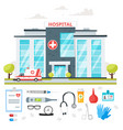 hospital building with ambulance car vector image