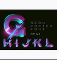 neon typeset glowing alphabet dark background vector image