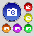 Photo Camera icon sign Round symbol on bright vector image