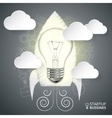 rocket with lightbulb for infographic vector image