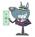 wolf business man waving a greeting vector image
