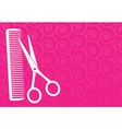 barbershop background with scissors and comb vector image vector image