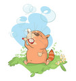 cute cat blowing bubbles vector image