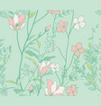 seamless pattern with watercolor flowers branches vector image