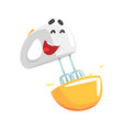funny mixer character with smiling face humanized vector image