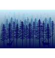 Blue winter forest vector image vector image