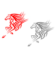 Horse mascots in tribal style vector image vector image