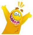 cartoon yellow monster halloween vector image