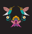 embroidered design elements with flowers and vector image