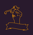 golf logo template outline of girl swinging club vector image