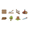 sawmill and timber icons in set collection for vector image