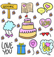 doodle of wedding object various colorful vector image