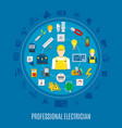 professional electrician round design vector image