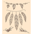 hand drawn elements feather and butterflies vector image vector image