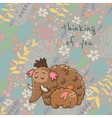 Cartoon floral card with mammoth vector image vector image