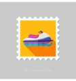 Jet Ski flat stamp with long shadow vector image
