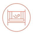 Baby laying in crib line icon vector image