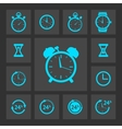 Blue clock icons set vector image
