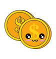 coins money kawaii character vector image