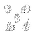 coloring book cartoon christmas set vector image