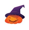 Jack O Lantern Pumpkin wearing Witch Hat vector image