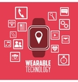 smart watch social media wearable technology pink vector image