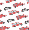 Seamless pattern of the fire engine ambulance an vector image