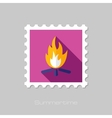 Bonfire flat stamp with long shadow vector image