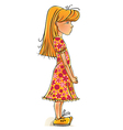 Funny cartoon little girl vector image