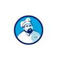 Baker Chef Cook Bearded Circle Retro vector image