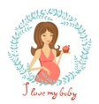 Beautiful mom to be holding cupcake vector image