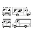blank commercial food truck in different points of vector image