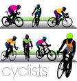 cyclists set01 vector image