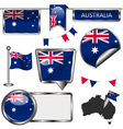 Glossy icons with Australian flag vector image