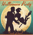 Halloween vintage poster - witch and a man vector image