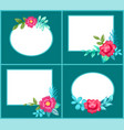 set of postcards with flowers vector image