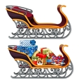 Sleigh filled with Christmas gifts isolated vector image